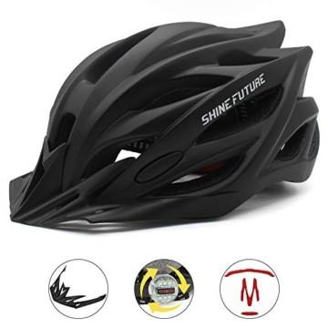 Fahrradhelm für Erwachsene, verstellbare leichte Fahrradhelme für Männer und Frauen, Rennrad- und Mountainbike-Helm mit abnehmbarem Visier und LED-Rücklicht (Schwarz) - 3