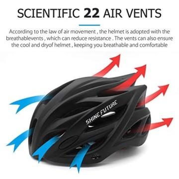 Fahrradhelm für Erwachsene, verstellbare leichte Fahrradhelme für Männer und Frauen, Rennrad- und Mountainbike-Helm mit abnehmbarem Visier und LED-Rücklicht (Schwarz) - 4
