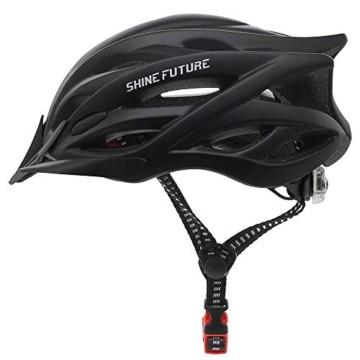 Fahrradhelm für Erwachsene, verstellbare leichte Fahrradhelme für Männer und Frauen, Rennrad- und Mountainbike-Helm mit abnehmbarem Visier und LED-Rücklicht (Schwarz) - 1