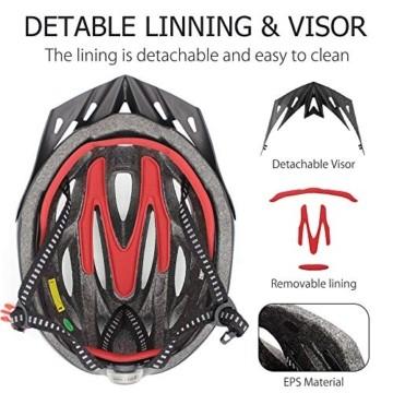 Fahrradhelm für Erwachsene, verstellbare leichte Fahrradhelme für Männer und Frauen, Rennrad- und Mountainbike-Helm mit abnehmbarem Visier und LED-Rücklicht (Schwarz) - 5