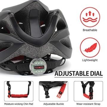 Fahrradhelm für Erwachsene, verstellbare leichte Fahrradhelme für Männer und Frauen, Rennrad- und Mountainbike-Helm mit abnehmbarem Visier und LED-Rücklicht (Schwarz) - 6