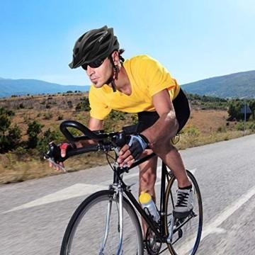 Fahrradhelm für Erwachsene, verstellbare leichte Fahrradhelme für Männer und Frauen, Rennrad- und Mountainbike-Helm mit abnehmbarem Visier und LED-Rücklicht (Schwarz) - 7