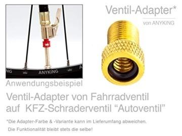 17-Teile Fahrradventil-Ersatz komplett-Set: 4x Fahrrad-Ventile Dunlop Blitzventil Einsatz, AV-Adapter Auto-Ventil Luft-Pumpe Aufsatz, Ventilkappen Nuss Mutter, Standard Normal-Ventil NV DV BV Ventile - 7