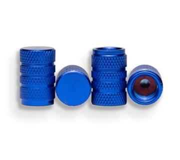 4er-Set Alu Ventilkappen für Auto Motorad Fahrrad Roller und Anhänger Radventilkappen Reifenventilkappen Ventildeckel Autoventilkappen car Valve caps (Blau) - 6