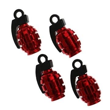 4x Motorrad Auto Fahrrad Grenade Luftreifen Ventil Staubkappe Rot Ventilkappen - 1