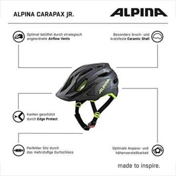 ALPINA CARAPAX JR. Fahrradhelm, Kinder, black-neon yellow, 51-56 - 5
