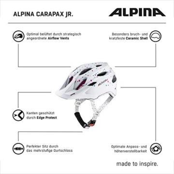 ALPINA CARAPAX JR. Fahrradhelm, Kinder, white polka dots, 51-56 - 5