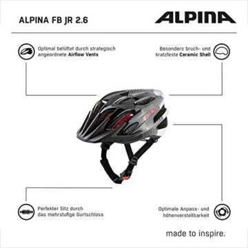 ALPINA FB JR. 2.0 Fahrradhelm, Kinder, black-white-red, 50-55 - 2