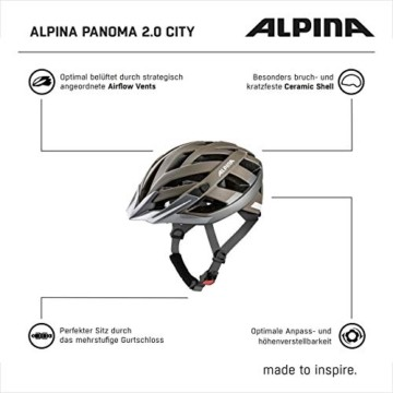 ALPINA PANOMA 2.0 CITY Fahrradhelm, Unisex– Erwachsene, sepia-titanium matt reflective, 52-57 - 3