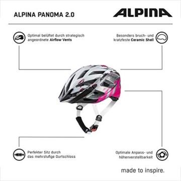 ALPINA PANOMA 2.0 Fahrradhelm, Unisex– Erwachsene, pearlwhite-magenta, 52-57 - 5