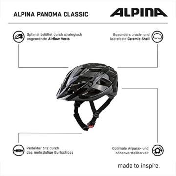 ALPINA PANOMA CLASSIC Fahrradhelm, Unisex– Erwachsene, black, 52-57 - 4