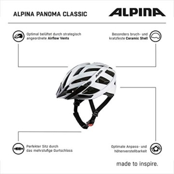 ALPINA PANOMA CLASSIC Fahrradhelm, Unisex– Erwachsene, white, 52-57 - 12