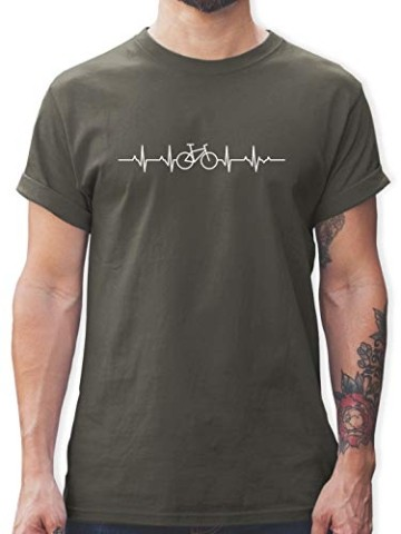 Andere Fahrzeuge - Herzschlag Fahrrad - L - Dunkelgrau - Shirt Fahrrad Herren Motiv - L190 - Tshirt Herren und Männer T-Shirts - 1