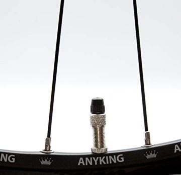 ANYKING 16-Teile Fahrrad-Ventil Dunlop Blitzventil komplett-Set: 4X Ventileinsatz, Felgen-Mutter, Überwurf-Mutter, Ventilkappen auch für Puky Rad, Standard Normal-Ventil Ersatz Reifen-Ventile - 5