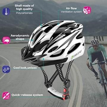 CHILEAF Jugend & Erwachsene Fahrradhelm CE EN1078, EPS-Körper + PC-Schale, Robust und Ultraleicht, mit Abnehmbarem Visier und Polsterung, mit freiem Stirnband, Verstellbar Radhelm (56-64cm) - 3