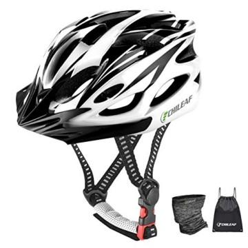 CHILEAF Jugend & Erwachsene Fahrradhelm CE EN1078, EPS-Körper + PC-Schale, Robust und Ultraleicht, mit Abnehmbarem Visier und Polsterung, mit freiem Stirnband, Verstellbar Radhelm (56-64cm) - 1