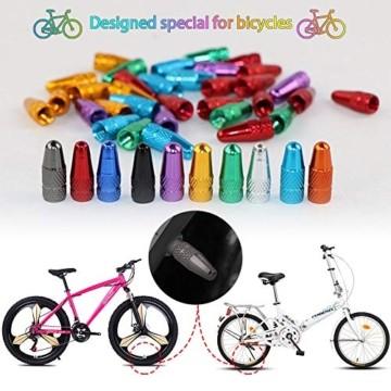 EMAGEREN 20 Stücke Fahrrad Presta Ventilkappen mehrfarbige Französisch Ventilkappen Fahrradstaubkappen Aluminiumlegierung Bike Rad Reifen Ventil Abdeckungen für Mountainbike MTB Motorrad(10 Farbe) - 7