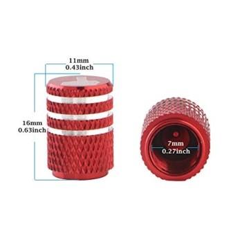GLL 4pcs Rot Reifen Ventilkappen Universal Spindelabdeckungen für Autos, SUVs, Fahrräder und Fahrräder, LKWs, Motorräder, Schwerlast, Luftdichte Dichtung, Anschraubbare, Griffige Verwendung - 2