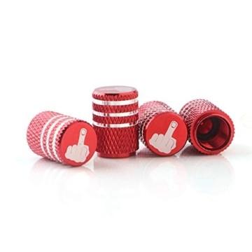 GLL 4pcs Rot Reifen Ventilkappen Universal Spindelabdeckungen für Autos, SUVs, Fahrräder und Fahrräder, LKWs, Motorräder, Schwerlast, Luftdichte Dichtung, Anschraubbare, Griffige Verwendung - 3