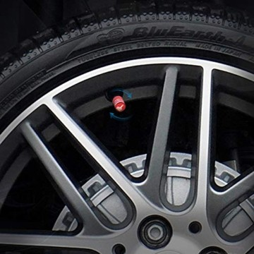 GLL 4pcs Rot Reifen Ventilkappen Universal Spindelabdeckungen für Autos, SUVs, Fahrräder und Fahrräder, LKWs, Motorräder, Schwerlast, Luftdichte Dichtung, Anschraubbare, Griffige Verwendung - 4