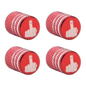 GLL 4pcs Rot Reifen Ventilkappen Universal Spindelabdeckungen für Autos, SUVs, Fahrräder und Fahrräder, LKWs, Motorräder, Schwerlast, Luftdichte Dichtung, Anschraubbare, Griffige Verwendung - 1