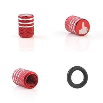 GLL 4pcs Rot Reifen Ventilkappen Universal Spindelabdeckungen für Autos, SUVs, Fahrräder und Fahrräder, LKWs, Motorräder, Schwerlast, Luftdichte Dichtung, Anschraubbare, Griffige Verwendung - 6