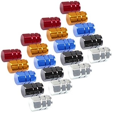 JiangLin Autoreifen-Ventilkappen, 20 Universal Schaftabdeckungen für PKW, SUVs, Fahrrad und Fahrrad, LKW, Motorräder, Easy-Grip-Einsatz - 1