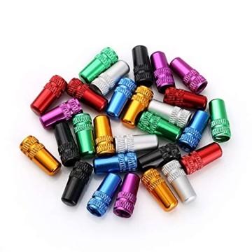 Juland 28PCS Fahrradreifen-Ventilkappen Presta-Ventilkappe im französischen Stil Mehrfarbig Eloxiert bearbeitet Aluminiumlegierung Staubabdeckungen - 7 Farben - 4