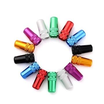 Juland 28PCS Fahrradreifen-Ventilkappen Presta-Ventilkappe im französischen Stil Mehrfarbig Eloxiert bearbeitet Aluminiumlegierung Staubabdeckungen - 7 Farben - 5
