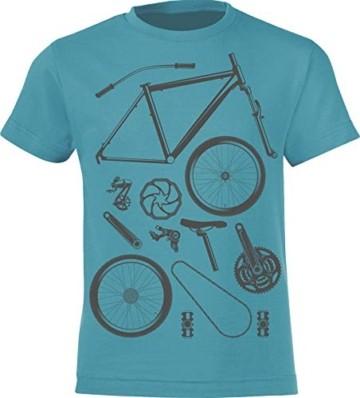 Kinder T-Shirt: Bike Parts - Fahrrad Geschenk-e Jungen & Mädchen - Radfahrer-in Mountain Bike MTB BMX Roller Rad Outdoor Junge Kind - Verkehr Schule Sport Trikot Geburtstag (Blau 152/164) - 4