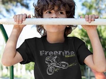 Kinder T-Shirt: Freeride Downhill - Fahrrad Geschenk-e Jungen & Mädchen - Radfahrer-in Mountain Bike MTB BMX Roller Rad Outdoor Junge Kind - Verkehr Schule Sport Trikot Geburtstag (134/146) - 2