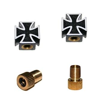 KUSTOM66 2er Set Ventilkappen und 2 Fahrrad Adapter – Schwarzes Kreuz – Iron Cross – für jedes Fahrrad geeignet -
