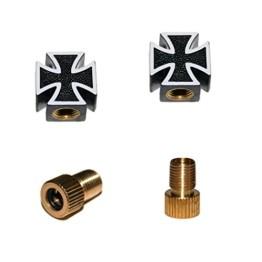 KUSTOM66 2er Set Ventilkappen und 2 Fahrrad Adapter - Schwarzes Kreuz - Iron Cross - für jedes Fahrrad geeignet - 1