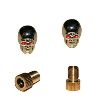 KUSTOM66 2er Set Ventilkappen und 2 Fahrrad Adapter – Skull v2 – in Silber für jedes Fahrrad geeignet -