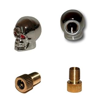 KUSTOM66 2er Set Ventilkappen und 2 Fahrrad Adapter – Totenkopf mit roten Augen – in Silber für jedes Fahrrad geeignet -