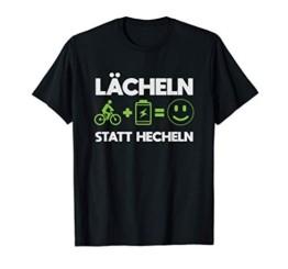Lächeln Statt Hecheln E-Bike Fahrrad Elektrofahrrad Radsport T-Shirt - 1