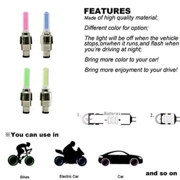 LED Ventil Kappen, Reifen Beleuchtung, Speichen Licht, für Fahrrad Felgen Auto Bike Valve Caps - 6