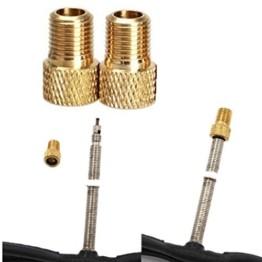 QHJ Ventilkappen Fahrrad, 2 Stück Messing Adapter Presta Zu Schrader Fahrradventil Converter Bike Pump Connector (Gold) - 1