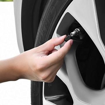 Reifenventilkappen, Kunststoff, Staubschutzkappen für PKW-Reifen, mit Dichtungsring für SUV, Motorrad, LKW, Fahrrad, Schwarz, 8 Stück - 4