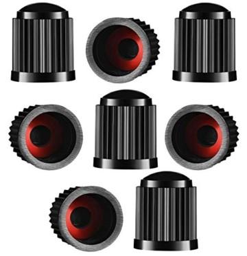 Reifenventilkappen, Kunststoff, Staubschutzkappen für PKW-Reifen, mit Dichtungsring für SUV, Motorrad, LKW, Fahrrad, Schwarz, 8 Stück - 1