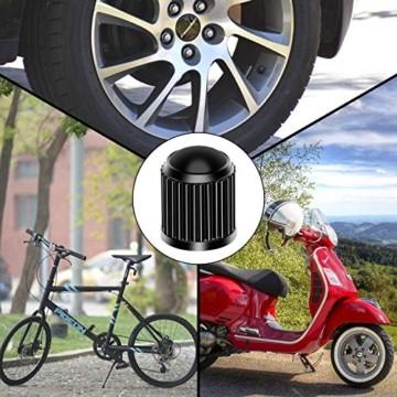Reifenventilkappen, Kunststoff, Staubschutzkappen für PKW-Reifen, mit Dichtungsring für SUV, Motorrad, LKW, Fahrrad, Schwarz, 8 Stück - 8