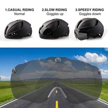 Shinmax Fahrradhelm,Fahrradhelm Herren,CE Zertifikat,Fahrradhelm mit Abnehmbarer Magnetische Visier,Fahrradhelm mit Reflektierende Sicherheitsseilschnalle & Wiederaufladbar LED-licht 60-64CM(RC-088) - 3