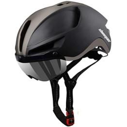 Shinmax Fahrradhelm,Fahrradhelm Herren,CE Zertifikat,Fahrradhelm mit Abnehmbarer Magnetische Visier,Fahrradhelm mit Reflektierende Sicherheitsseilschnalle & Wiederaufladbar LED-licht 60-64CM(RC-088) - 1