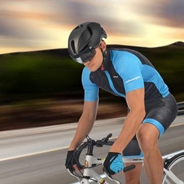 Shinmax Fahrradhelm,Fahrradhelm Herren,CE Zertifikat,Fahrradhelm mit Abnehmbarer Magnetische Visier,Fahrradhelm mit Reflektierende Sicherheitsseilschnalle & Wiederaufladbar LED-licht 60-64CM(RC-088) - 8