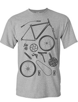 T-Shirt: Bike Parts - Fahrrad Geschenke für Damen & Herren - Radfahrer - Mountain-Bike - MTB - BMX - Fixie - Rennrad - Tour - Outdoor - Sport - Urban - Motiv - Spruch - Fun - Lustig, Grau Meliert, M - 1