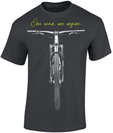 T-Shirt: One Man, One Engine - Fahrrad Geschenke für Damen & Herren - Radfahrer - Mountain-Bike - MTB - BMX - Biker - Rennrad - Tour - Outdoor - Downhill - Dirt - Freeride - Trail - Cross (L) - 1