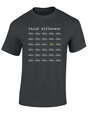 T-Shirt: Think Different - Fahrrad Geschenke für Damen & Herren - Radfahrer - Mountain-Bike - MTB - BMX - Fixie - Rennrad - Tour - Outdoor, Dunkelgrau, M - 3