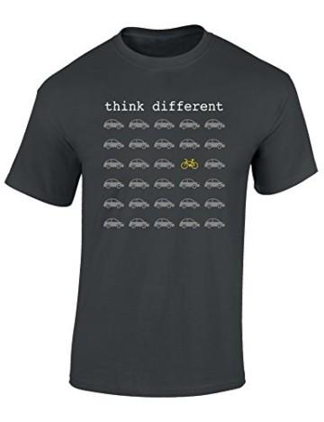 T-Shirt: Think Different - Fahrrad Geschenke für Damen & Herren - Radfahrer - Mountain-Bike - MTB - BMX - Fixie - Rennrad - Tour - Outdoor, Dunkelgrau, M - 1