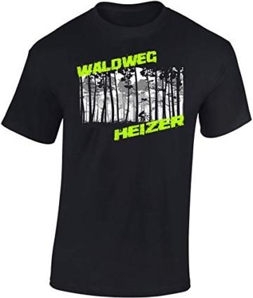 T-Shirt: Waldweg Heizer - Fahrrad Geschenke für Damen & Herren - Radfahrer - Mountain-Bike - MTB - BMX - Biker - Rennrad - Tour - Outdoor - Downhill - Dirt - Freeride - Trail - Cross, Schwarz, M - 2