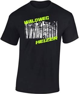 T-Shirt: Waldweg Heizer - Fahrrad Geschenke für Damen & Herren - Radfahrer - Mountain-Bike - MTB - BMX - Biker - Rennrad - Tour - Outdoor - Downhill - Dirt - Freeride - Trail - Cross, Schwarz, M - 1